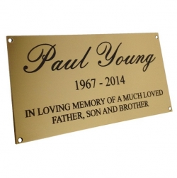 Laser marked Polished Brass plaque