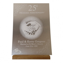 Brushed Silver Trophy Aluminium Anniversary Plaque