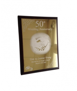 Bright Gold Trophy Aluminium Anniversary Plaque