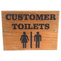 Oak Engraved Toilet Sign
