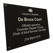 Laser marked Gloss Black Aluminium plaque